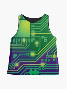 Alternate view of Love of Computers Technology Digital Circuit Board Print Sleeveless Top l Green Blouse, Green Dress, Edgy Outfits, Green Outfits, Blouses For Women, Women's Blouses, Edgy Dress, Pretty Shirts, Circuit Board