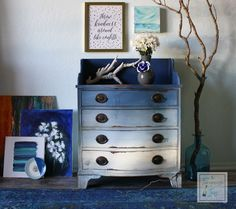 The Turquoise Iris ~ Vintage Modern Hand Painted Furniture: Blue & White But Not Traditional Furniture Makeovers & New Artwork