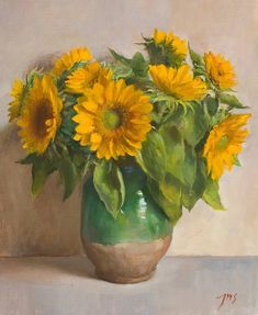 Sunflowers | A still life painting by British Artist Julian Merrow-Smith