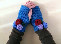 Blue Fingerless Gloves Gift For Her by ClassicLoopsCreative
