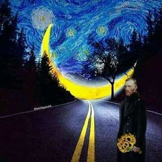 Likes, 7 Comments - Amazing Starry Nights ✨🌙💙 ( Art Van, Van Gogh Art, Vincent Van Gogh, Van Gogh Paintings, Photocollage, China Art, Funny Art, Aesthetic Art, Oeuvre D'art