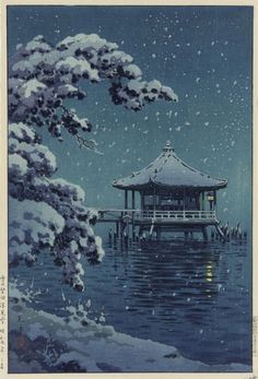 "SNOW AT KATATA BY TSUCHIYA KOITSU. Wood block prints have been an inspiration for my painting for 50 years. Now scroll through Pinterest pins of ""Wood Block Prints I Love"" which have impressed Two Bananas Art and me the most.  I INVITE YOU TO VISIT MY ART GALLERY NOW.... www.https://richard-neuman-artist.com"