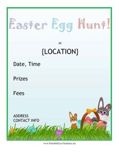Great for young children, churches and Easter celebrations, this printable holiday event flyer features the Easter Bunny with a basket and Easter eggs in the grass. Free to download and print