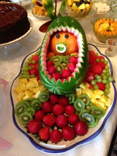 Adorable and so much fun for a baby shower! Baby Shower Fruit Tray, Shower Ideas, Watermelon, Fun, Fin Fun, Funny, Hilarious