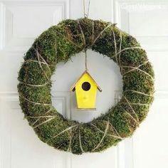front door reefs, birdhouses, birdhous wreath, diy spring, front doors
