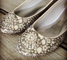 Pearl Vine Bridal Ballet Flats Wedding Shoes  by BeholdenBridal, $205.00