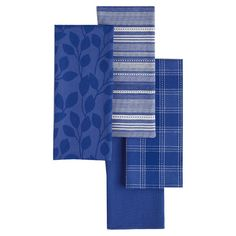 Add a pop of color to your kitchen with these vibrant dishtowels, showcasing 4 varied designs in a chic blueberry hue.   Product: