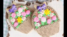 Easter Basket Cookie with stencilled basketweave & assorted flowers