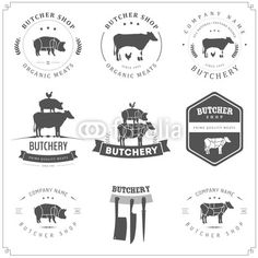 Set of butcher shop labels and design elements vector 1192628 by ivanbaranov on VectorStock® is part of Chicken logo - Carnicerias Ideas, Shop Ideas, Label Design, Logo Design, Graphic Design, Graphic Art, Logo Boutique, Chicken Logo, Meat Shop