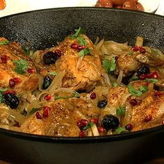 Batali family recipe: Mom's chicken with saffron, caramelized onions, pomegranate, and olives. mmm