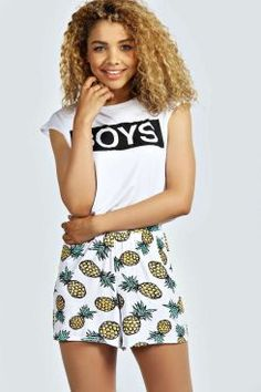 0121ff901c16 Livia Pineapple Print Flippy Shorts Boyfriend Shorts, Yellow Shorts,  Pineapple Print, Mini Shorts