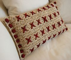 Cranberry Kisses Reversible Knitted Cushion Cover by Hand Knitted Things