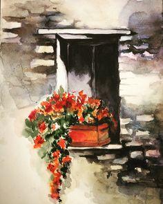 Watercolor Painting Techniques, Watercolor Landscape Paintings, Acrylic Painting Canvas, Watercolor Flowers, Painting Prints, Painting & Drawing, Watercolor Paintings, Art Village, Watercolor Architecture