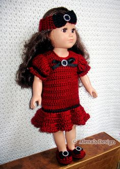 Crochet pattern 3 pc set holiday doll outfit by alenascreations