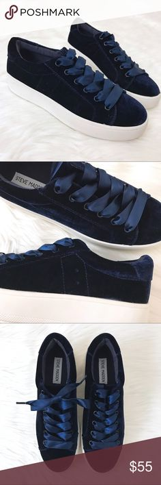 """New Steve Madden 'Bertie-V' Velvet Sneakers Girly, sporty and street-chic style combine to form the perfect sneakers. On-trend navy velvet covers these platform sneakers with matching satin laces. Wear laces tied in a bow or tucked in for a more casual look.  New without original box.  Bottoms show slight wear from being tried on in store. Model photos show same style in different colors.   - Runs about a half size small; size 8.5 but listed as 8 - Approx 1.5"""" white bumper sole Steve Madden…"""