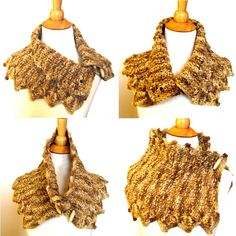 Tweed Knit Cowl Collar Capelet in Soft Luxe Gold Wool Fall Fashion