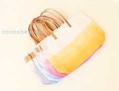 6 Large Canvas Ombre Tote Bags - Wedding Package for Bridesmaids (6 different colors) - with leather straps