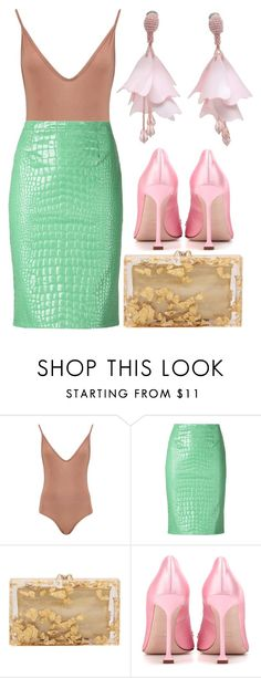"""""""Untitled #548"""" by arianasinger ❤ liked on Polyvore featuring Boohoo, Moschino Cheap & Chic, Charlotte Olympia, Miu Miu and Oscar de la Renta"""