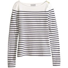 H&M Striped top ($20) ❤ liked on Polyvore featuring tops, shirts, h&m, stripes, white one shoulder top, long sleeve shirts, striped top, striped shirt and white stripes shirt