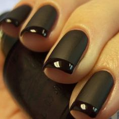 Butter London Matte finish over a shiny black polish would work perfectly for this.
