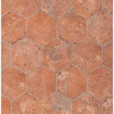 Tesoro Chicago Brick Hexagon x Porcelain Mosaic Tile in Wrigley Foyer Flooring, Brick Flooring, Kitchen Flooring, Concrete Floors, Kitchen Backsplash, Brick Steps, Best Floor Tiles, Hexagon Tiles, Tiles Texture