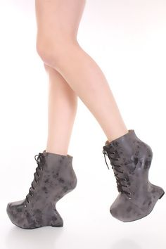 220655c3b9d Smoke Crinkled Faux Suede Lace Up Anti Gravity Wedges   Amiclubwear Wedges  Shoes Store Wedge