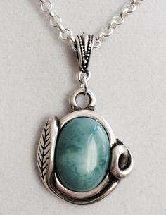 Silver Leaf Design Turquoise Necklace by joytoyou41 on Etsy
