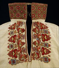Blouse, (made). Blouse, linen and cotton embroidered in wool and silks, Norway (Telemark), around Museum Number Hardanger Embroidery, Folk Embroidery, Medieval Embroidery, Scandinavian Embroidery, Textiles, Period Outfit, Folk Costume, Costumes, Victoria And Albert Museum
