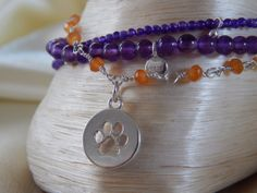 Classy! Clemson Orange and Regalia triple strand bracelet. Amethyst, carnelian, and pearl. Graduation present. Complimentary shipping!