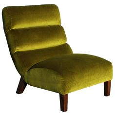 small swivel slipper accent chair | Large Luxe Chartreuse Velvet Scooped Slipper Chair