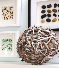treibholz-kugel als kreative dekoidee für terrasse und wohnzimmer