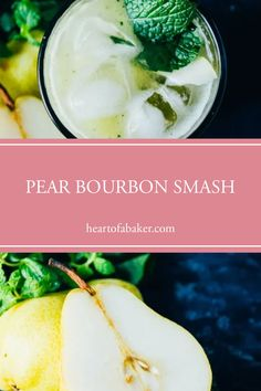 Are you looking for a quick and easy cocktail recipe? Click through to find out how to make this Pear Bourbon Smash! | Heart of a Baker #cocktail #cocktailrecipe #drinkrecipe Vegan Dessert Recipes, Delicious Vegan Recipes, Easy Desserts, Easy Cocktails, Cocktail Recipes, Bourbon Smash, Traditional Easter Desserts, Healty Dinner, Drinks Alcohol Recipes