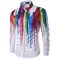 12d318299 Plus size 2018 men's casual colour shirt ink splash paint color self-c –  dresslliy