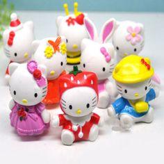 new 2014 japanese anime 8 pcs/set hello kitty mini dolls