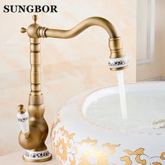 2016 Lanos Bathroom Faucet Copper Single Hole Basin Wash Antique Faucet Vintage Rotating Hot And Cold Kitchen Sink Vegetables