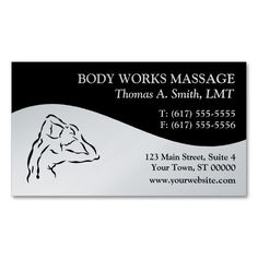 Massage Therapy Business Cards. This is a fully customizable business card and available on several paper types for your needs. You can upload your own image or use the image as is. Just click this template to get started!