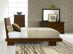 Hiro Platform Bed in Walnut. Almost bought this one. Love the color scheme.