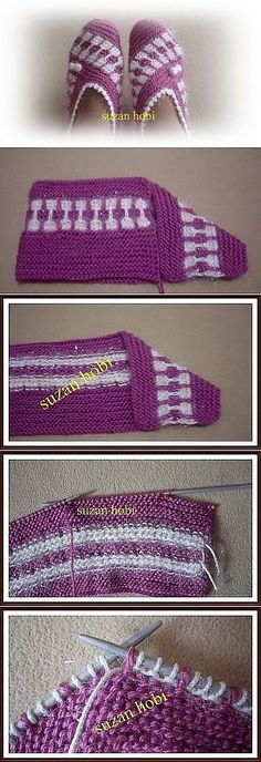 This Pin was discovered by Ley Loom Knitting, Knitting Socks, Baby Knitting, Knitting Designs, Knitting Patterns, Crochet Patterns, Free Crochet, Knit Crochet, Crochet Slipper Pattern