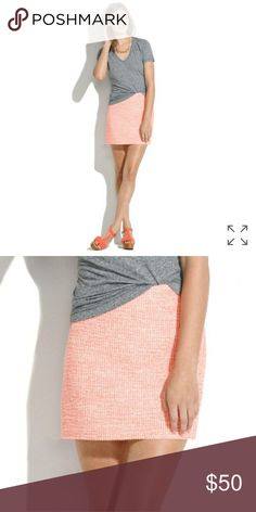 Madewell Skirt Neon boucle skirt Size 10  New with tags Side zipper Madewell Skirts Mini