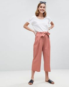 ASOS Tailored Linen Culotte with Tie Waist and Turn Up