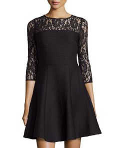 Floral Lace & Corded Knit Dress, Black by Taylor at Neiman Marcus Last Call.