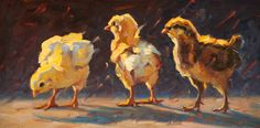 Chicks in the Evening   From a unique collection of animal paintings at https://www.1stdibs.com/art/paintings/animal-paintings/