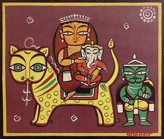 gond art: Home & Kitchen Pichwai Paintings, Indian Paintings, Indian Folk Art, Indian Artist, Saree Painting, Fabric Painting, Jamini Roy, Indian Arts And Crafts, India Art