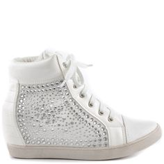 Lauren Lorraine Women's Sassoon - White ($90) ❤ liked on Polyvore featuring shoes, sneakers, white, white high top sneakers, high top hidden wedge sneakers, white high top shoes, sparkle high top sneakers and lace up shoes