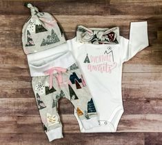 newborn baby girl coming home outfit/Adventure awaits outfit/coming home outfit/pink and gray organic cotton newborn outfit by bibitibobitiboutique on Etsy Toddler Outfits, Girl Outfits, Trendy Outfits, Fashion Outfits, Stylish Dresses, Fashion Clothes, Bringing Baby Home, Girls Coming Home Outfit, Look Girl
