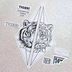 Dotwork geometric tiger matching tattoos for feet or forearm - limited design, only one download available at skinque.com