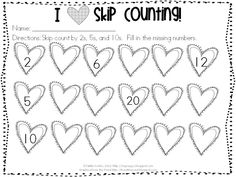 Classroom Freebies: I {heart} Skip Counting! Classroom Freebies, Math Classroom, Kindergarten Math, Classroom Ideas, Kids Math Worksheets, Math Resources, Math Activities, Classroom Resources, Skip Counting