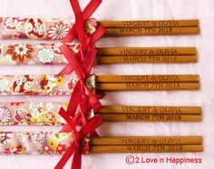 Personalised Engraved Chopsticks/Party Gifts/Wedding Favors (20 pairs)
