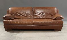 Vintage Natuzzi 3 seater sofa in brown leather (2 pieces available) by ScandinavianLove on Etsy