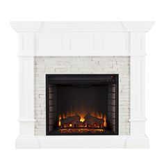 Harper Blvd Reese White Faux Stone Corner Convertible Electric Fireplace | Overstock.com Shopping - The Best Deals on Indoor Fireplaces